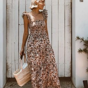 Love The Label Smocked Bust Tiered Maxi Dress XS